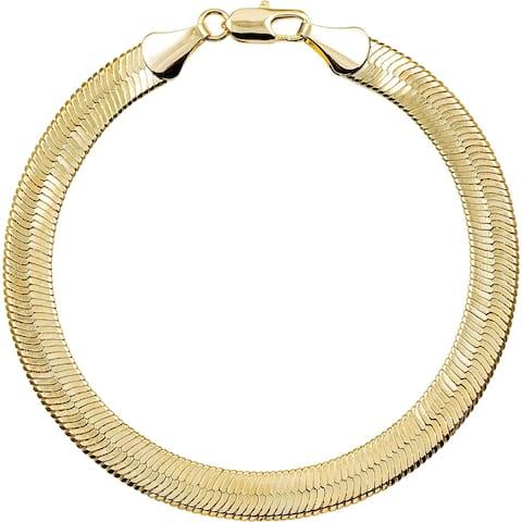 "7mm Gold/Silver Overlay 8-inch Herringbone Bracelet by Simon Frank Designs - 8"""