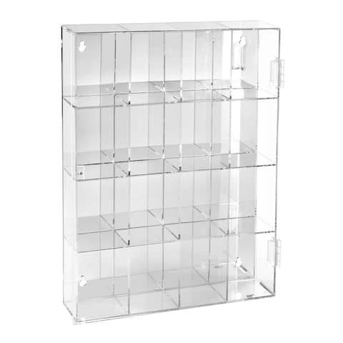 Mirrored Back Acrylic Display Box with 16 3-inch Compartments