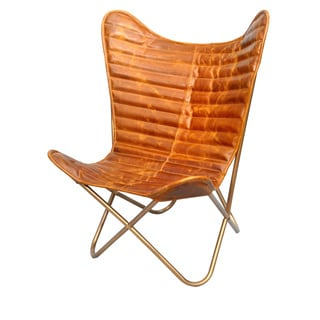 Carbon Loft Mathom Camel Nubuck Leather Butterfly Chair