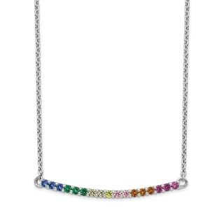 Versil Sterling Silver Rhodium Plated Colorful CZ Curved Bar Necklace