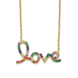Versil Sterling Silver 14 Karat Flash Gold Plated Colorful CZ Love Pendant With 2 Inch Extender Necklace