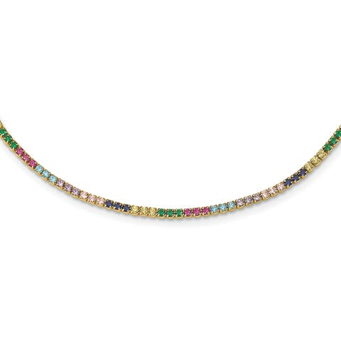 Versil Sterling Silver 14 Karat Flash-plated Colorful CZ with 3-inch Extender Choker Necklace