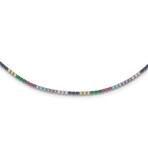 Versil Sterling Silver Rhodium-plated Colorful CZ with 3-inch Extender Choker Necklace