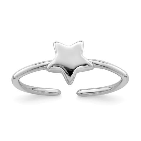 Versil Sterling Silver Rhodium-plated Polished Star Toe Ring