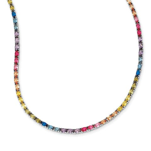 Versil Sterling Silver Rhodium-plated Oval Colorful CZ Necklace