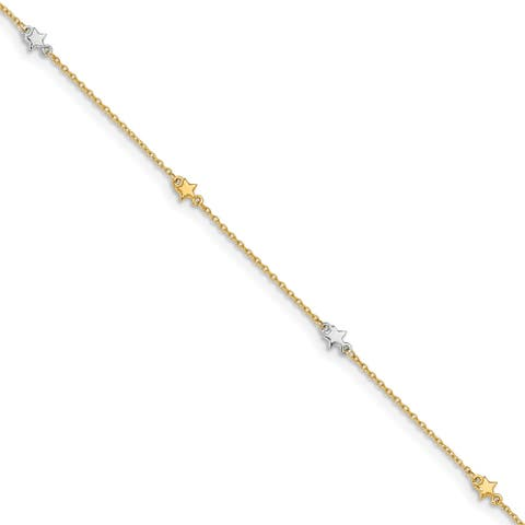 14 Karat Two-tone Polished Star with 1-inch Extention Anklet by Versil