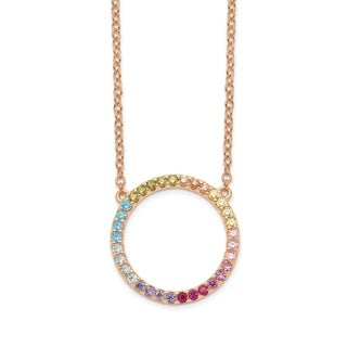 Versil Sterling Silver 14 Karat Rose Flash Plated Colorful CZ Open Circle With 2 Inch Extension Pendant Necklace