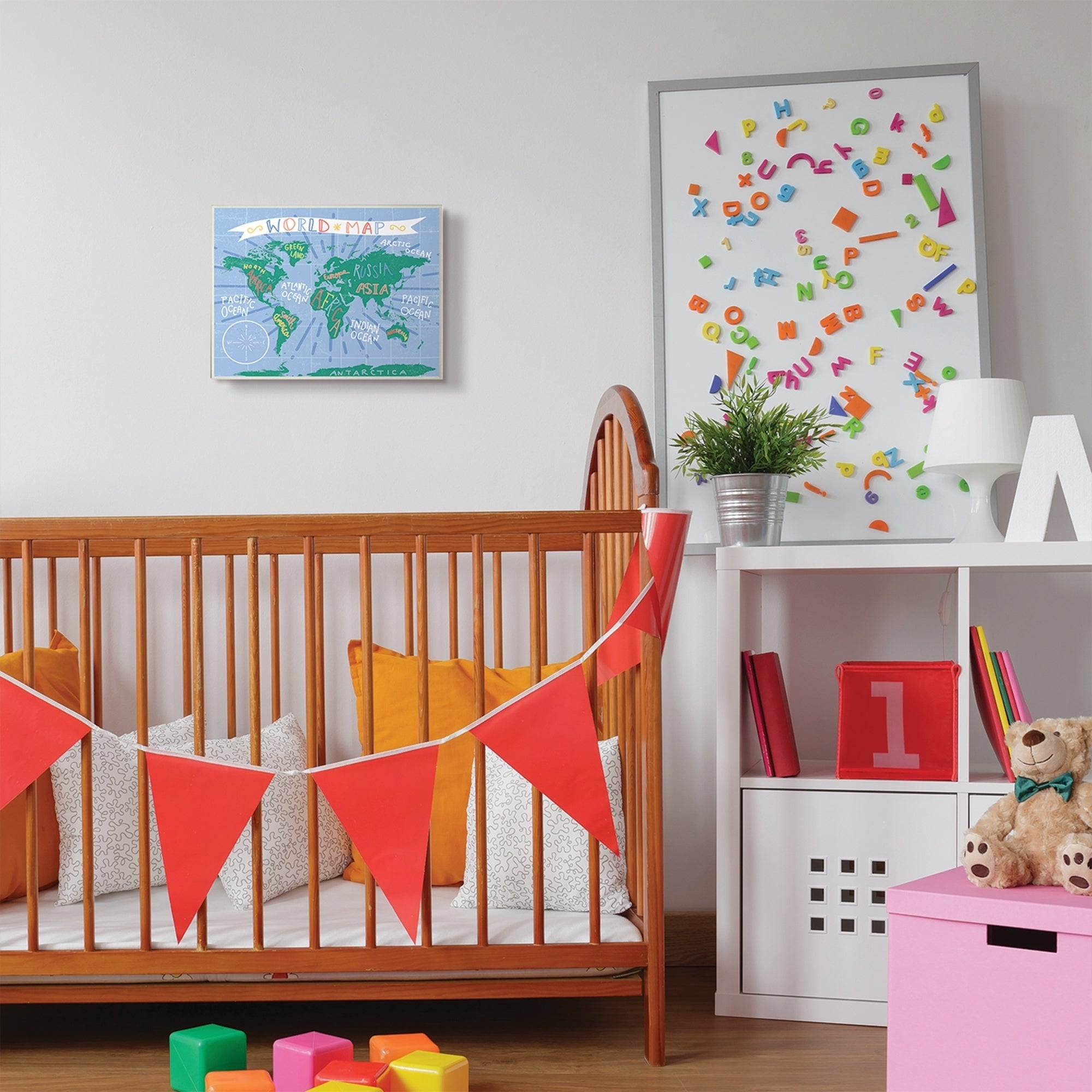 The Kids Room by Stupell Kids World Map Colorful Nursery Design,10x15,  Proudly Made in USA