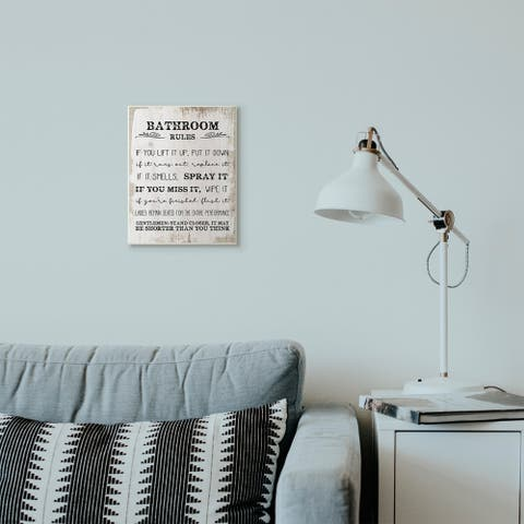 Porch & Den 'Bathroom Rules Funny' Distressed Wood Design Wall Art
