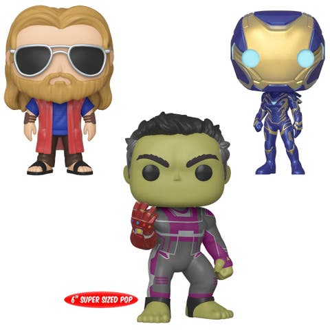 "Funko POP! Marvel Avengers Endgame Collectors Set 3 - Casual Thor, Rescue, 6"" Hulk with Gauntlet"