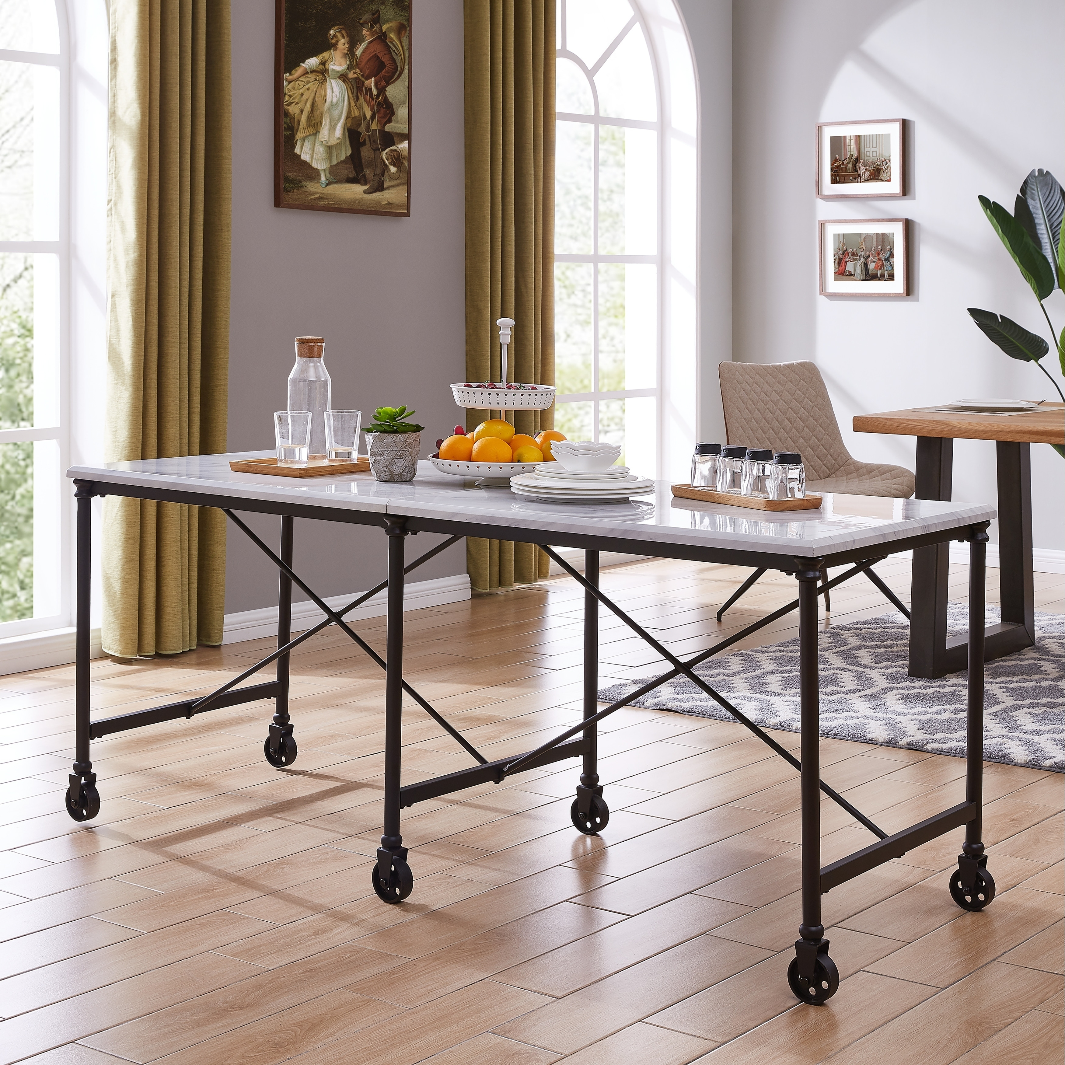 Carbon Loft Elisgner Industrial Black Metal 29 Inch Kitchen Island Table On Sale Overstock 28720413