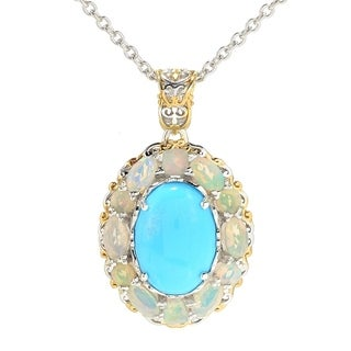 Michael Valitutti Palladium Silver Sleeping Beauty Turquoise Ethiopian Opal Halo Pendant