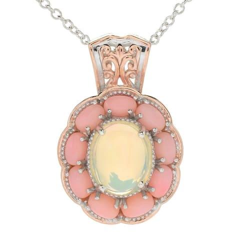 Gems en Vogue Palladium Silver Ethiopian Opal & Pink Coral Halo Pendant