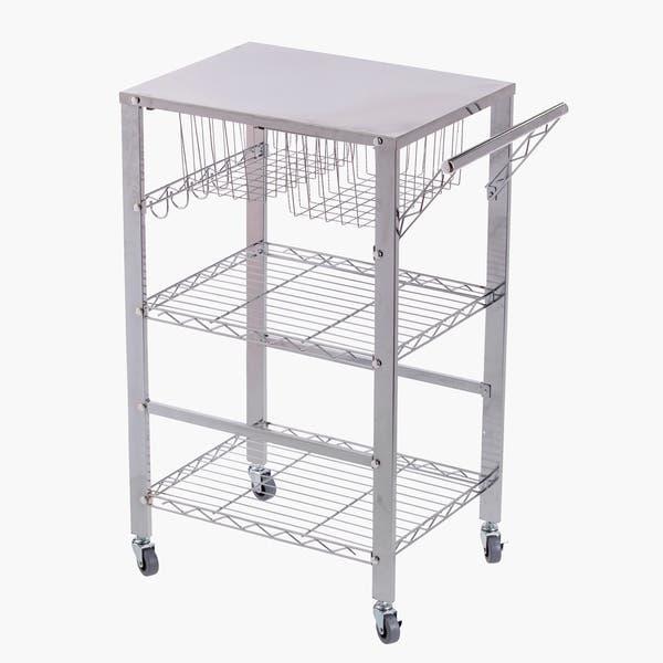 Porch Den Tallson Chrome Metal Rolling Kitchen Cart Overstock 28720495
