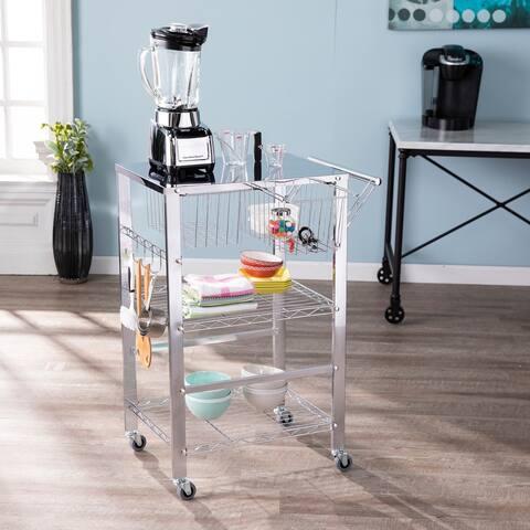 Porch & Den Tallson Chrome Metal Rolling Kitchen Cart