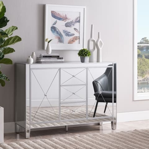 Silver Orchid Marter Glam Silver Mirror 3-Drawer Cabinet