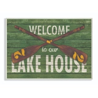 Stupell Industries  Welcome Lake House Country Home Green Word Design,12x18, Proudly Made in USA - 12 x 18
