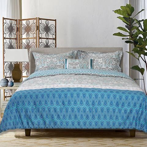 Explore Brand 4-Piece Aegean Comforter Set 100% Cotton, Arabesque, Contrasting Patterned Bands, 1 Comforter, 2 Shams, 1 Pillow