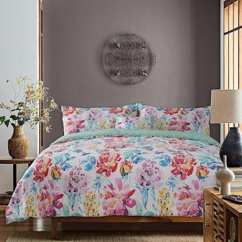Studio8 4 -Piece Dream Comforter Set 100% Cotton, Watercolor Floral Printed, 1 Comforter, 2 Shams and 1 Pillow