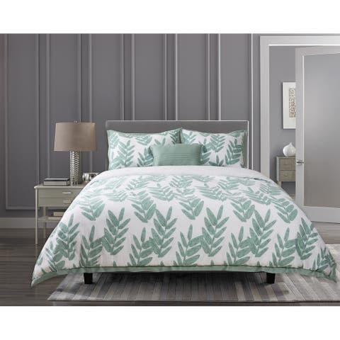 Suite Retreat 4-Piece Mila Comforter Set Comtemporary Leaf Pattern, 100% Cotton, 1 Comforter, 2 Shams and 1 Pillow