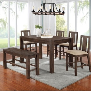 Best Quality Furniture Dark Walnut Rustic Counter Height Dining Set with Counter Height Bench and Four Counter Height Chairs