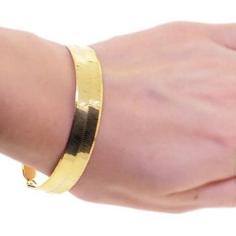 10mm Gold/ Silver Overlay Herringbone Bracelet by Simon Frank Designs - 8-Inch