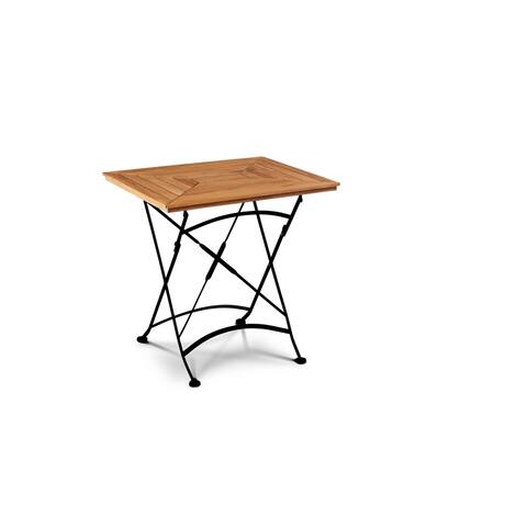 Bistro Folding Rectangular Teak Outdoor Dining Table with Iron Legs