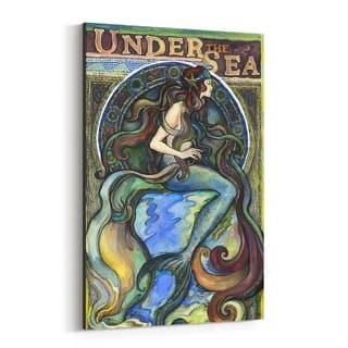 Noir Gallery Art Nouveau Mermaid Vintage Canvas Wall Art Print