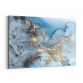Noir Gallery Blue Gold Marble Abstract Photo Canvas Wall Art Print