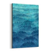 Noir Gallery Abstract Blue Hills Landscape Canvas Wall Art Print