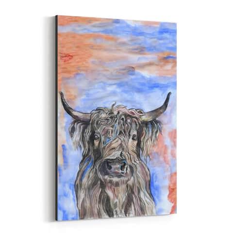 Noir Gallery Highland Cow Animal Illustration Canvas Wall Art Print