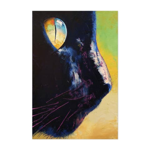 Noir Gallery Black Cat Animal Portrait Painting Unframed Art Print/Poster