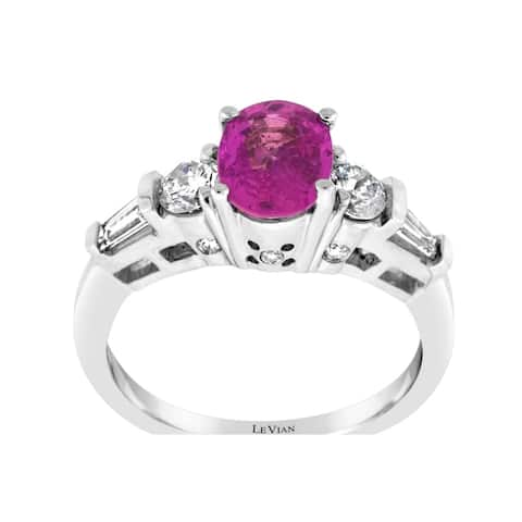 Encore by Le Vian Ring featuring Bubble Gum Pink Sapphire Vanilla Diamonds set in Vanilla Gold - Ring Size 7