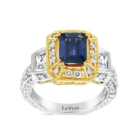 Encore by Le Vian Ring featuring Blueberry Sapphire, White Sapphire Vanilla Diamonds set in Two Tone Gold - Ring Size 7