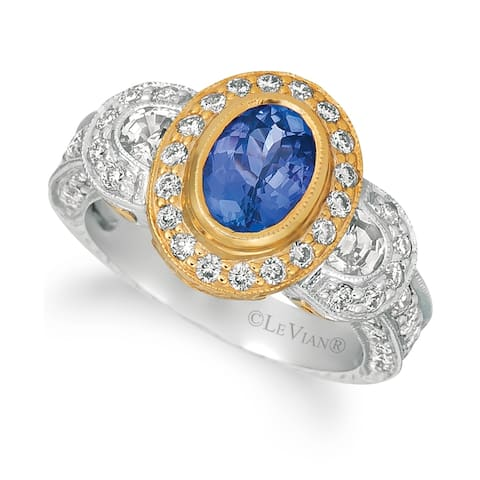 Encore by Le Vian Ring featuring Blueberry Tanzanite, White Sapphire Vanilla Diamonds set in Two Tone Gold -Ring Size 7