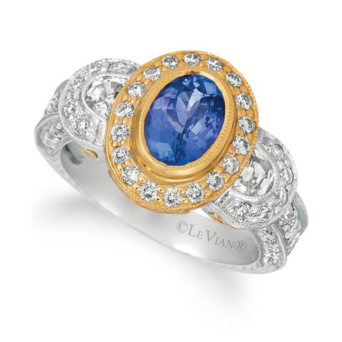 Encore by Le Vian Ring featuring Blueberry Tanzanite®, White Sapphire Vanilla Diamonds® set in Two Tone Gold