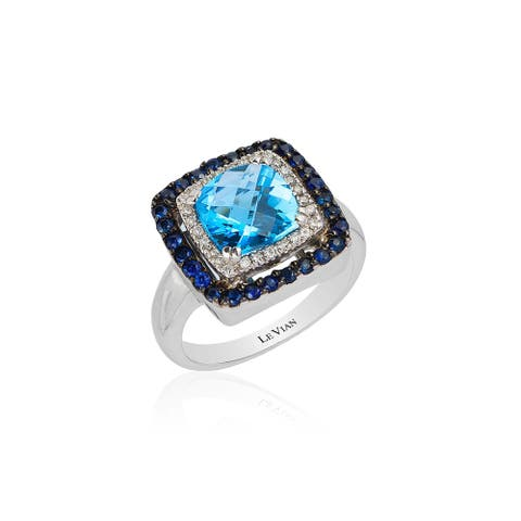 Encore by Le Vian Ring featuring Blue Topaz, Blueberry Sapphire Vanilla Diamonds set in Vanilla Gold -Ring Size 7