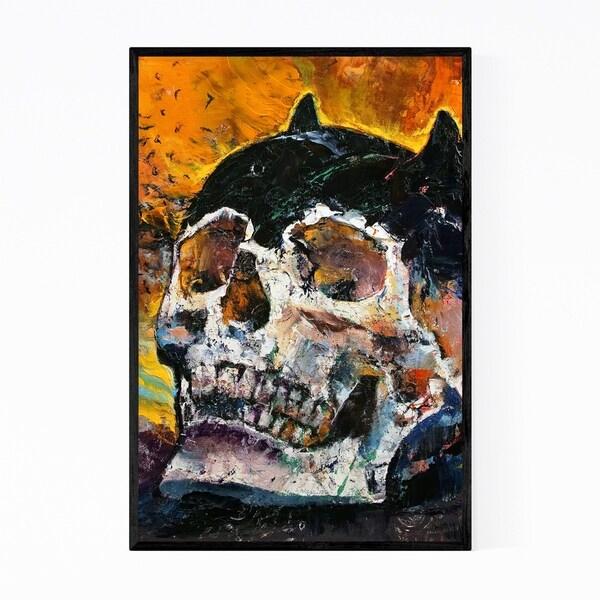 Noir Gallery Skull Oil Painting Gothic Skeleton Framed Art Print