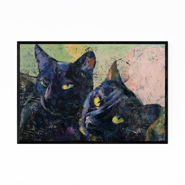 Noir Gallery Black Cats Pets Animal Painting Framed Art Print