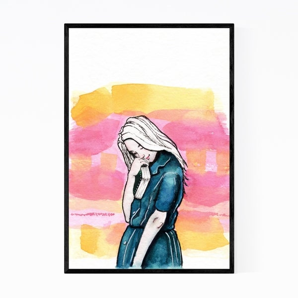 Noir Gallery Reader Gift Book Girl Painting Framed Art Print