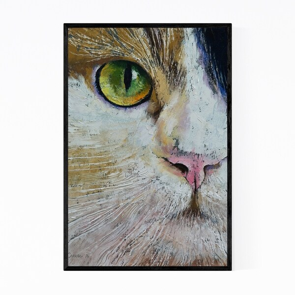 Noir Gallery Calico Cat Pet Animal Painting Framed Art Print