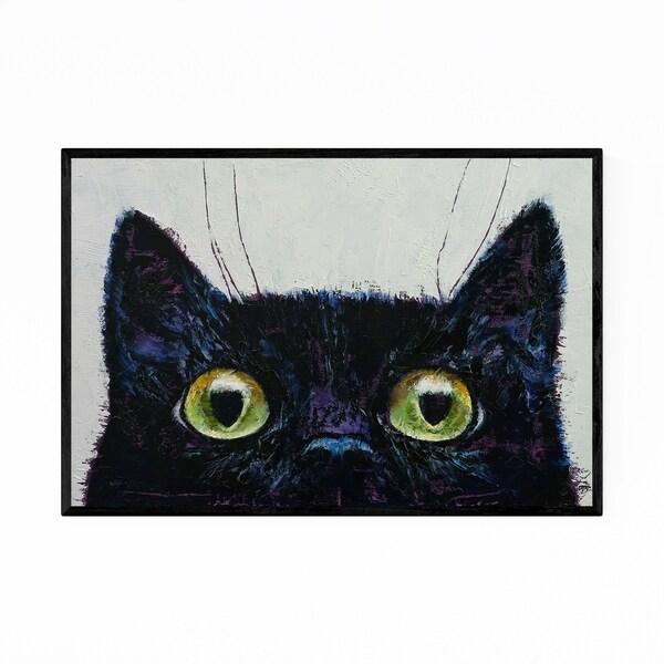 Noir Gallery Black Cat Animal Portrait Painting Framed Art Print