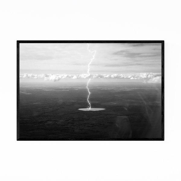 Noir Gallery Black & White Lightning Photo Framed Art Print