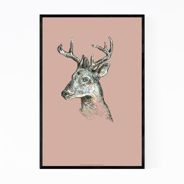 Noir Gallery Deer Animal Illustration Nature Framed Art Print