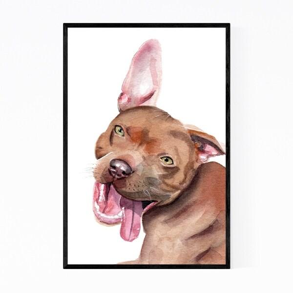Noir Gallery Pitbull Dog Cute Animal Painting Framed Art Print
