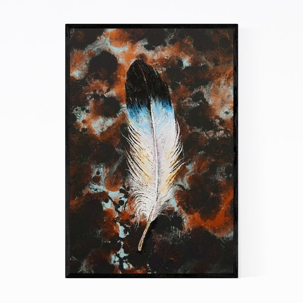 Noir Gallery Feather Abstract Painting Framed Art Print