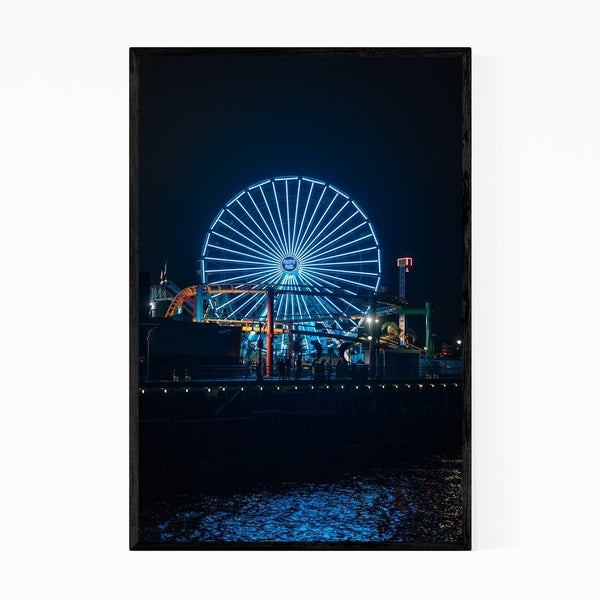 Noir Gallery Ferris Wheel Santa Monica CA Framed Art Print