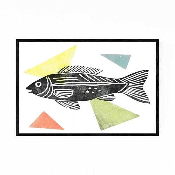 Noir Gallery Fish Nautical Coastal Linocut Framed Art Print