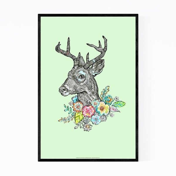 Noir Gallery Floral Deer Animal Illustration Framed Art Print