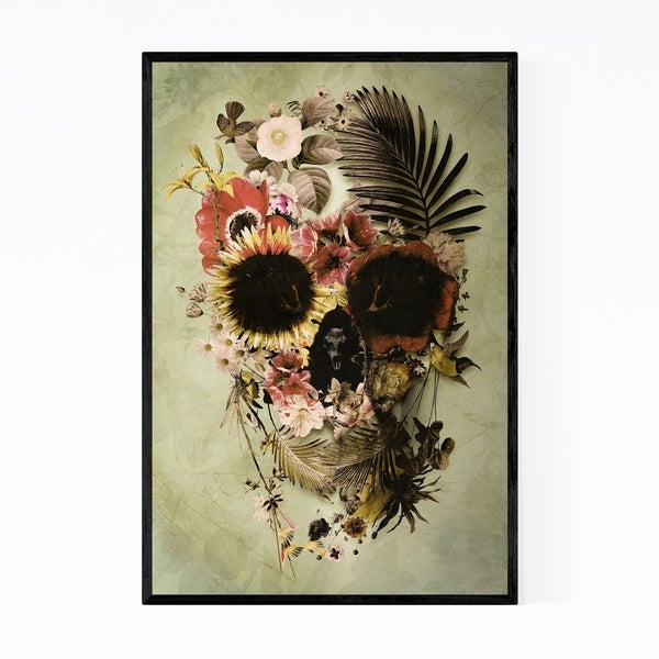 Noir Gallery Skull Floral Botanical Abstract Framed Art Print